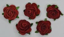 2.5cm DARK RED Mulberry Paper Roses (only flower head)